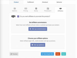 Setting up commission for affiliates