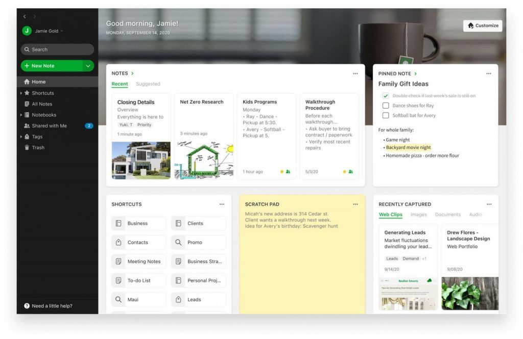 Templates in Evernote