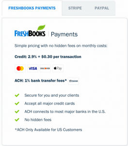 Feature for payments-Tekpon Freshbooks review