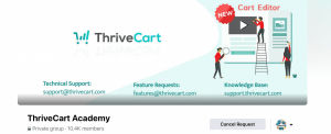 Facebook group Thrive Cart- Reviews by Tekpon