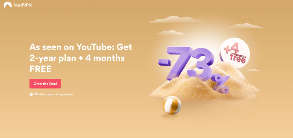 NordVPN deal -73% off for the 2 years plan plus 4 months free - tekpon club exclusive deals