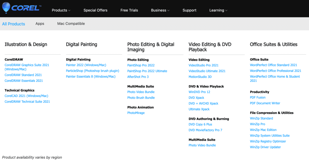 Corel Software Products
